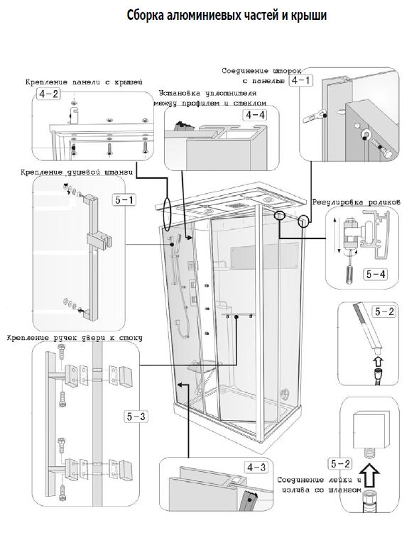 Скачать инструкцию по сборке душевая кабина